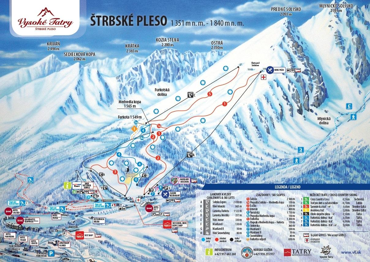 Štrbské Pleso Piste / Trail Map