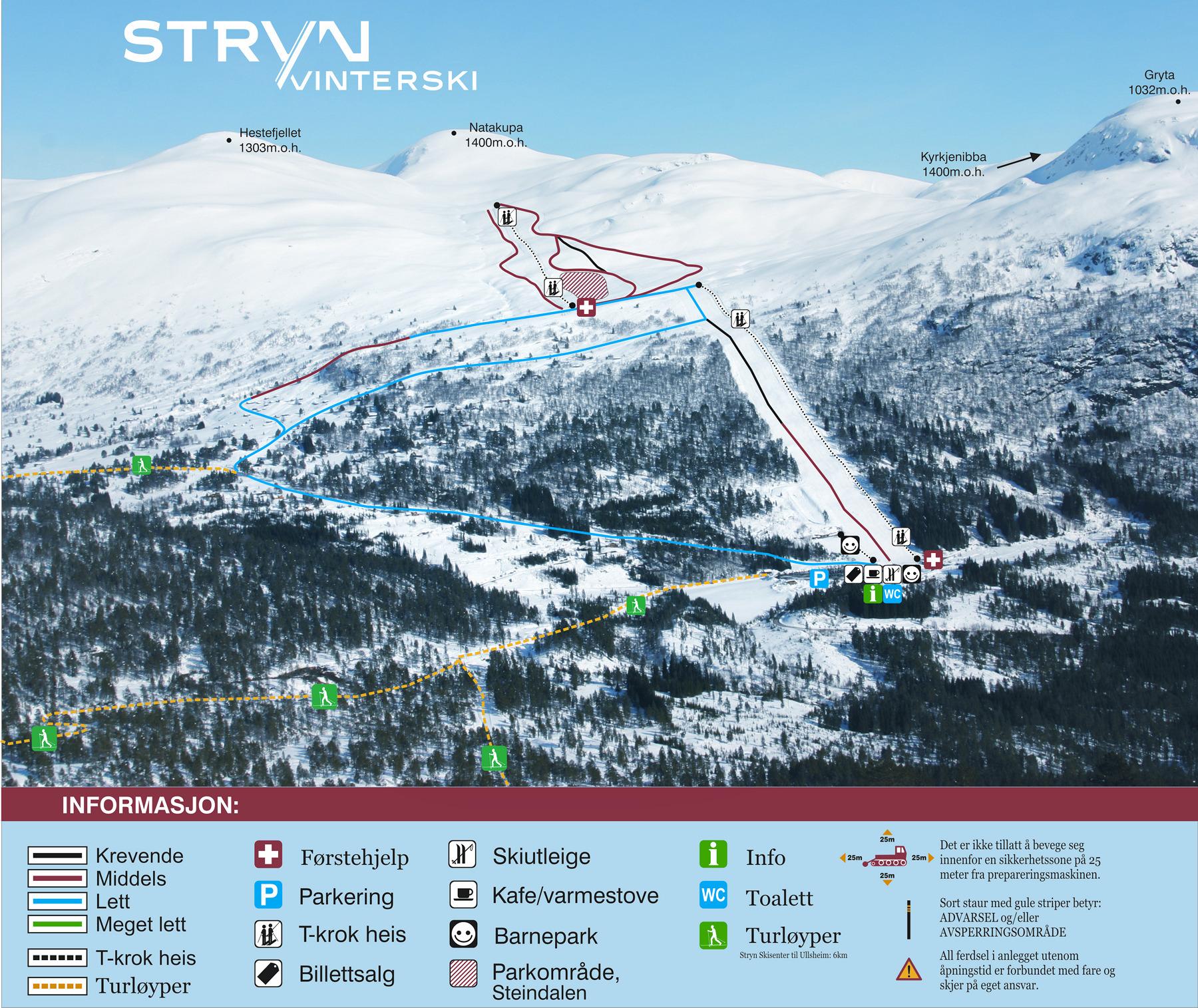 Strynefjellet Piste / Trail Map
