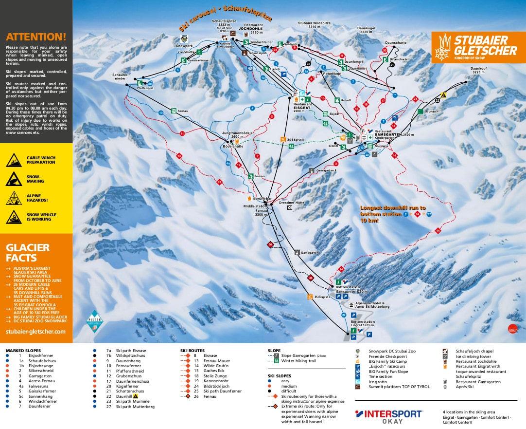 Stubai Glacier Piste / Trail Map
