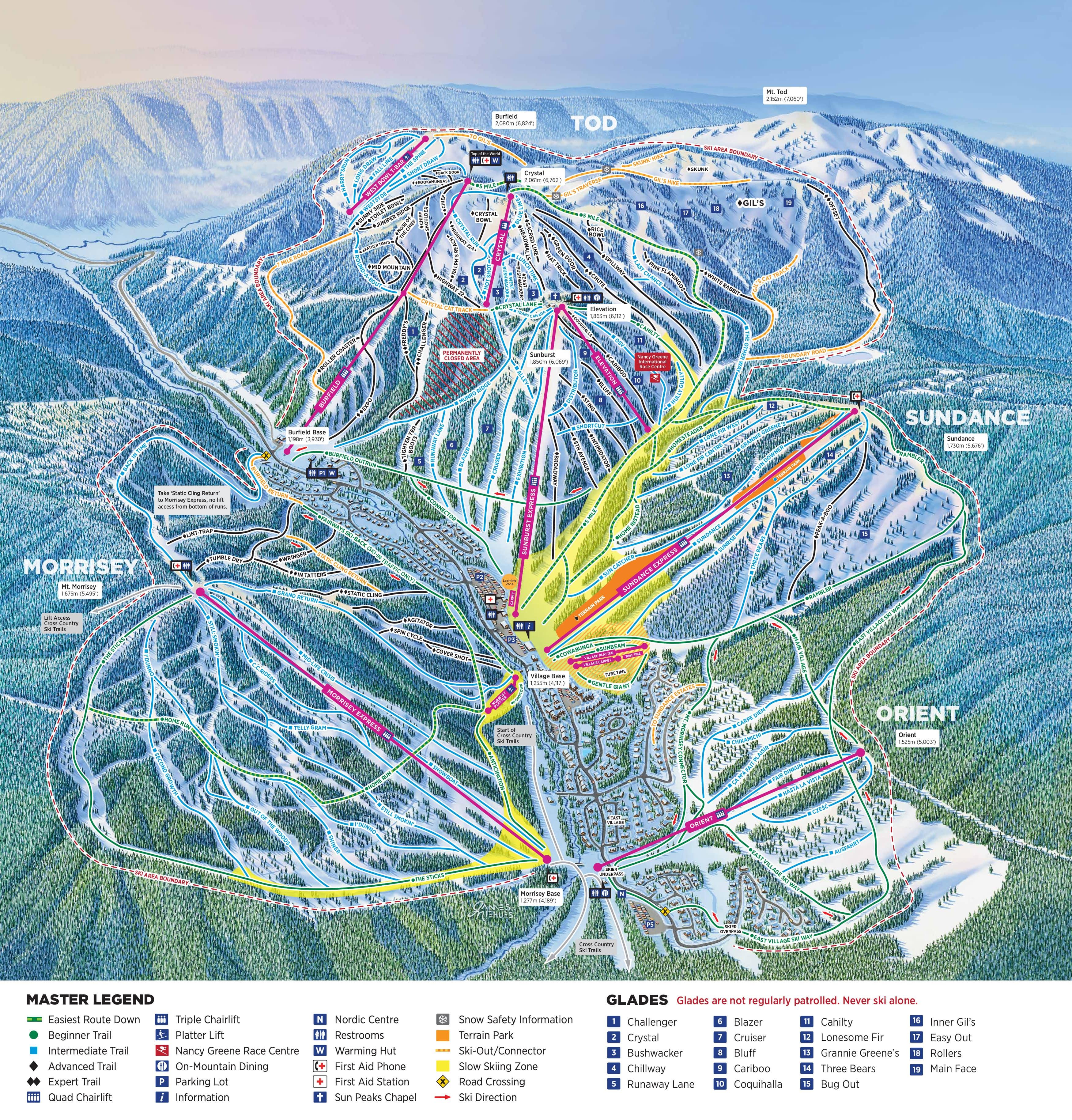 Sun Peaks Piste / Trail Map