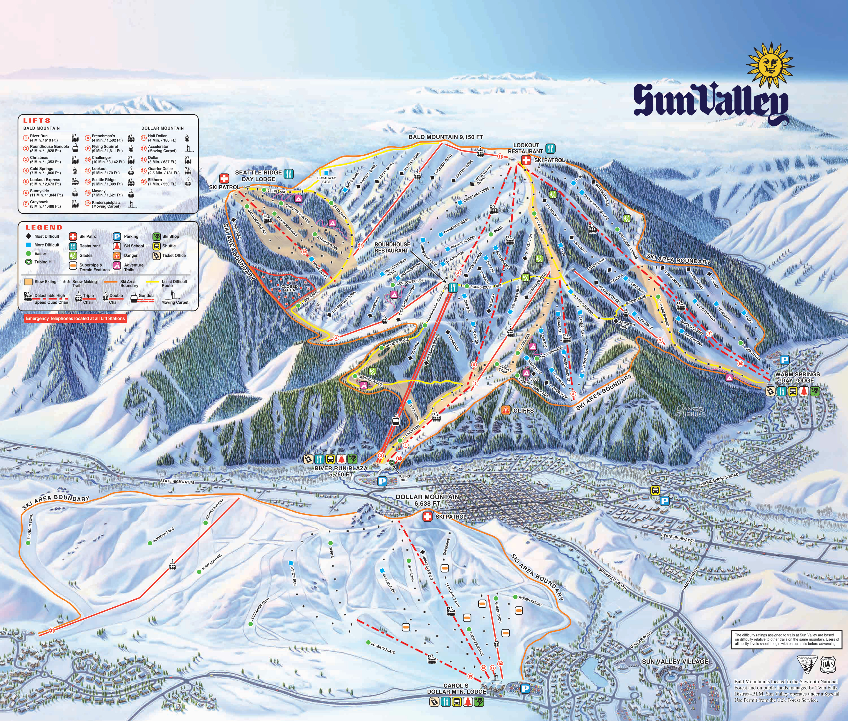 Sun Valley Piste / Trail Map