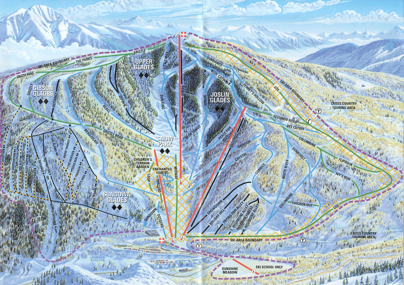 sunlight mountain resort piste map / trail map