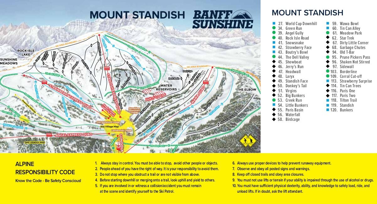 Sunshine Village Map Sunshine Village Piste Map / Trail Map Sunshine Village Map