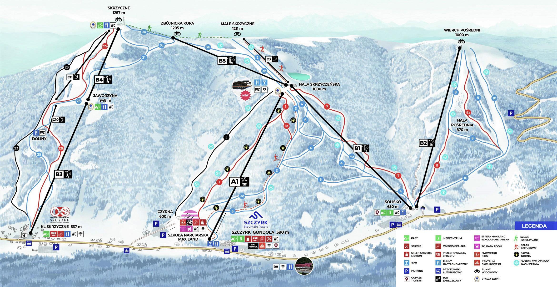 Szczyrk - Beskid Sport Arena Piste / Trail Map