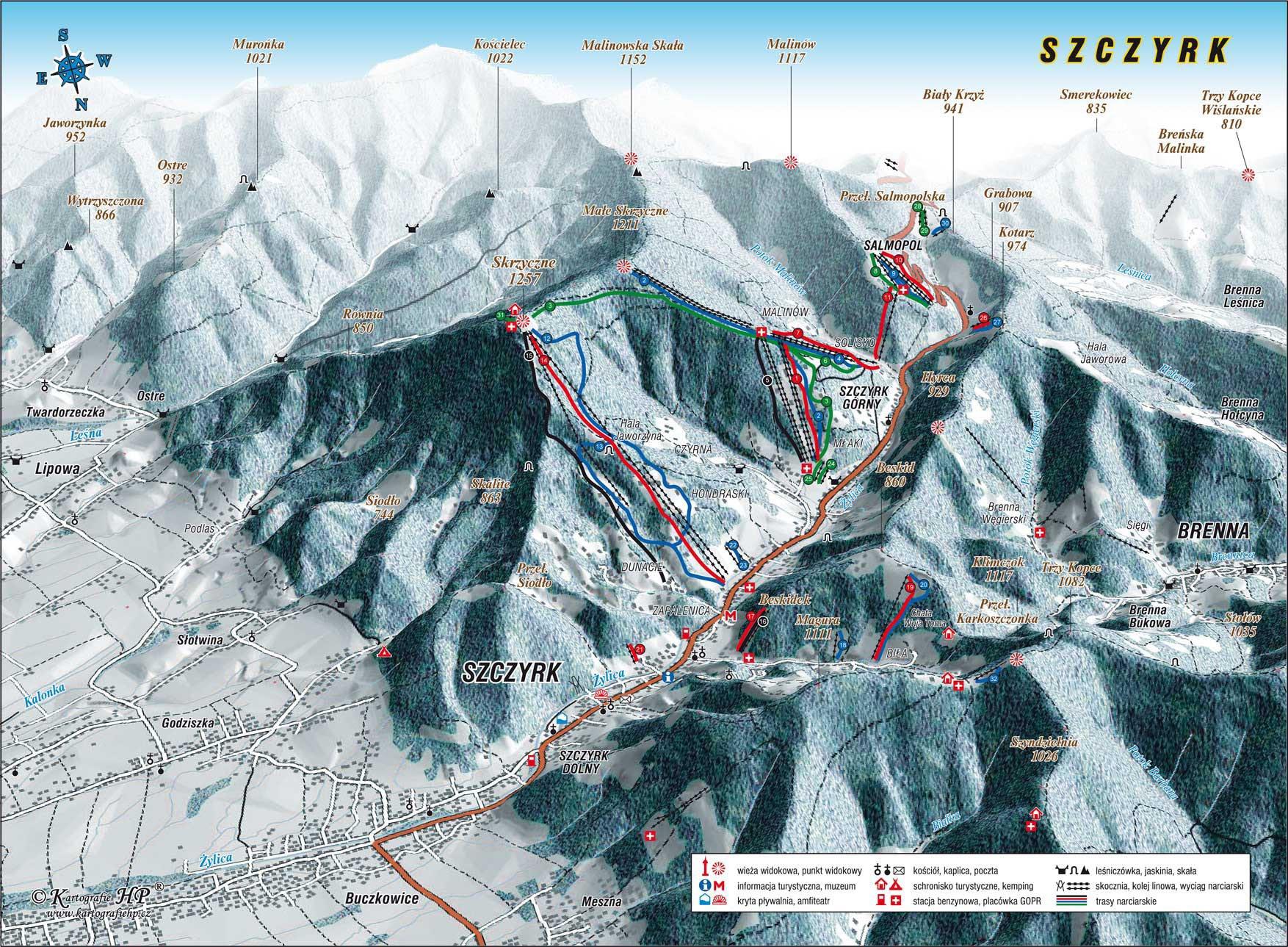 Szczyrk Piste / Trail Map