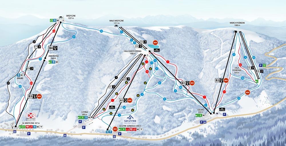 Szczyrkowski Ośrodek Narciarski Piste / Trail Map