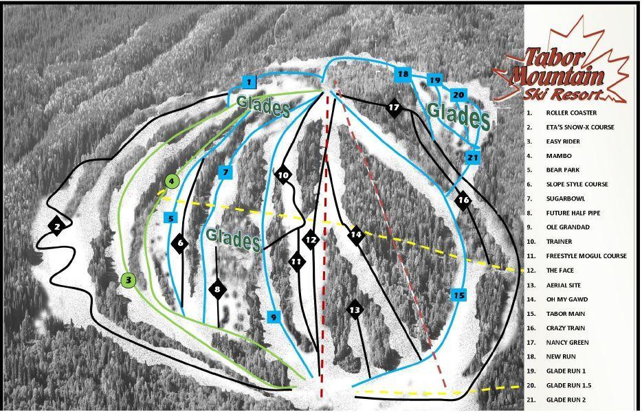 Tabor Mountain Piste / Trail Map