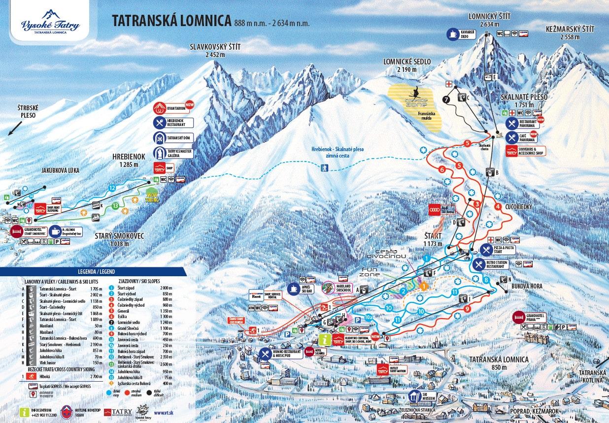 Tatranská Lomnica Piste / Trail Map
