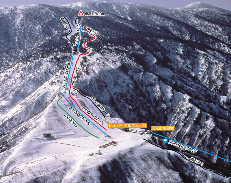 Tengendai Kogen Piste / Trail Map
