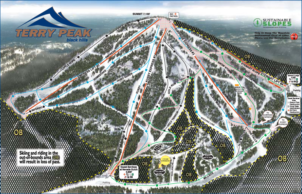 Terry Peak Piste / Trail Map