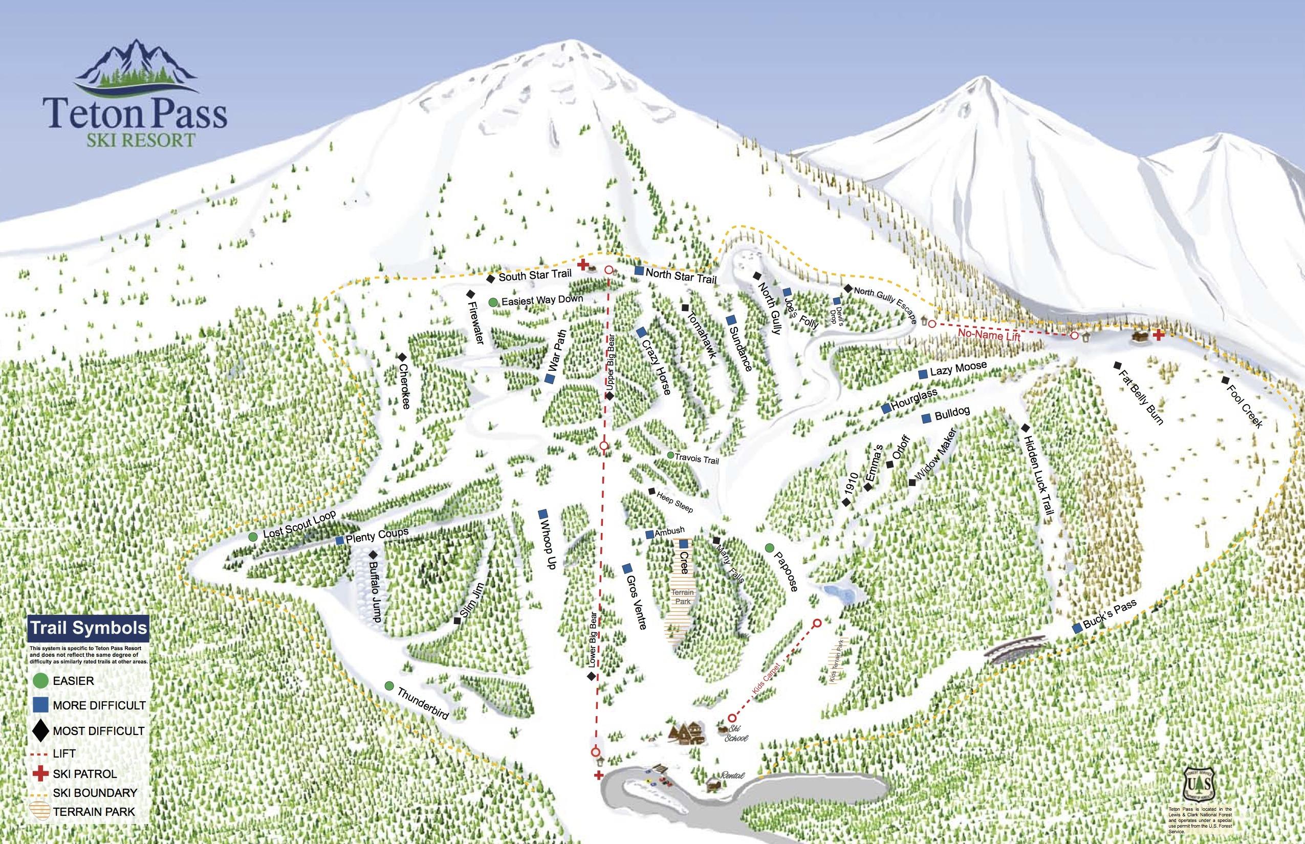 Teton Pass Ski Area Piste / Trail Map