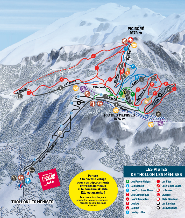 Thollon les Mémises Piste / Trail Map