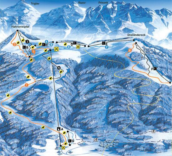 Dreilaendereck Piste / Trail Map