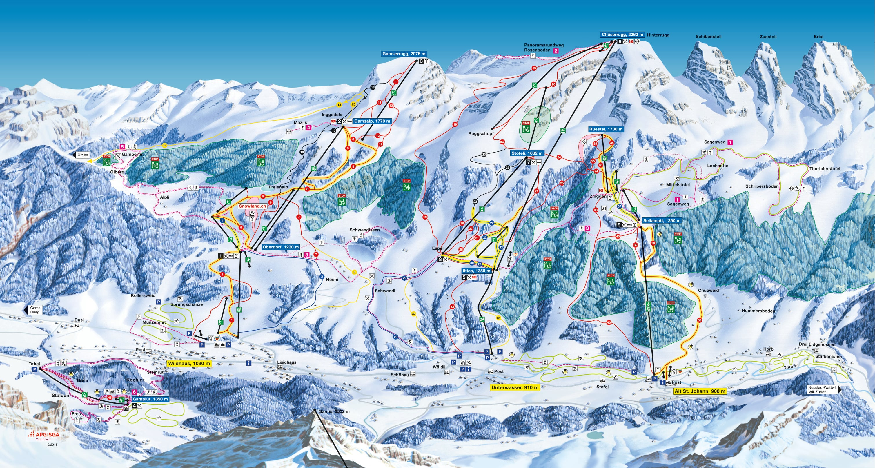 Toggenburg Mountain Piste / Trail Map