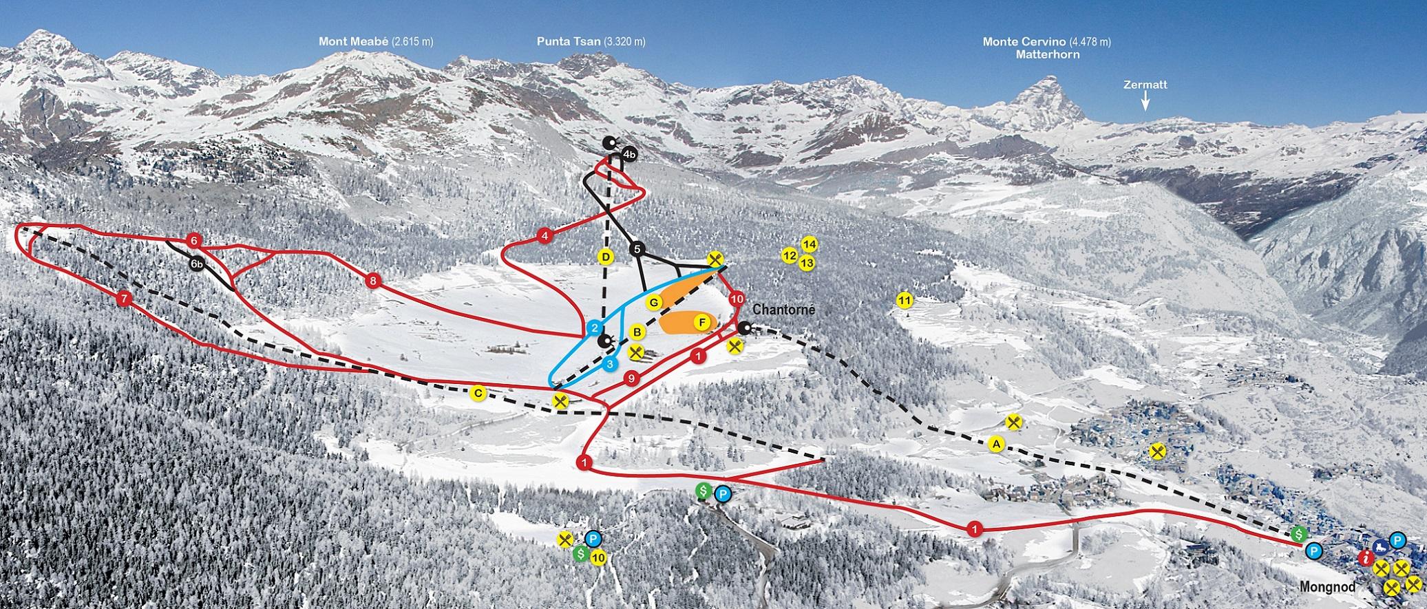 Torgnon Piste / Trail Map