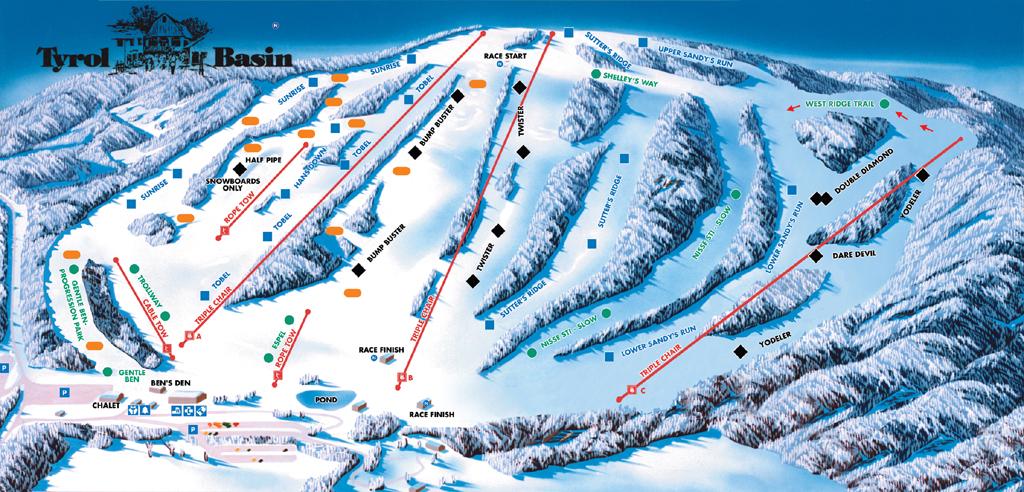 Tyrol Basin Piste / Trail Map