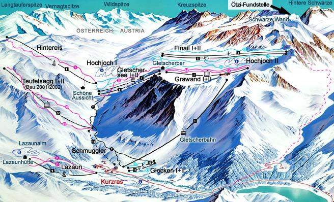 Val Senales Schnalstal Piste Map Trail Map