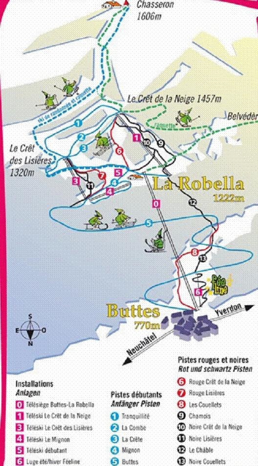 Val-de-Travers / La Robella Piste / Trail Map