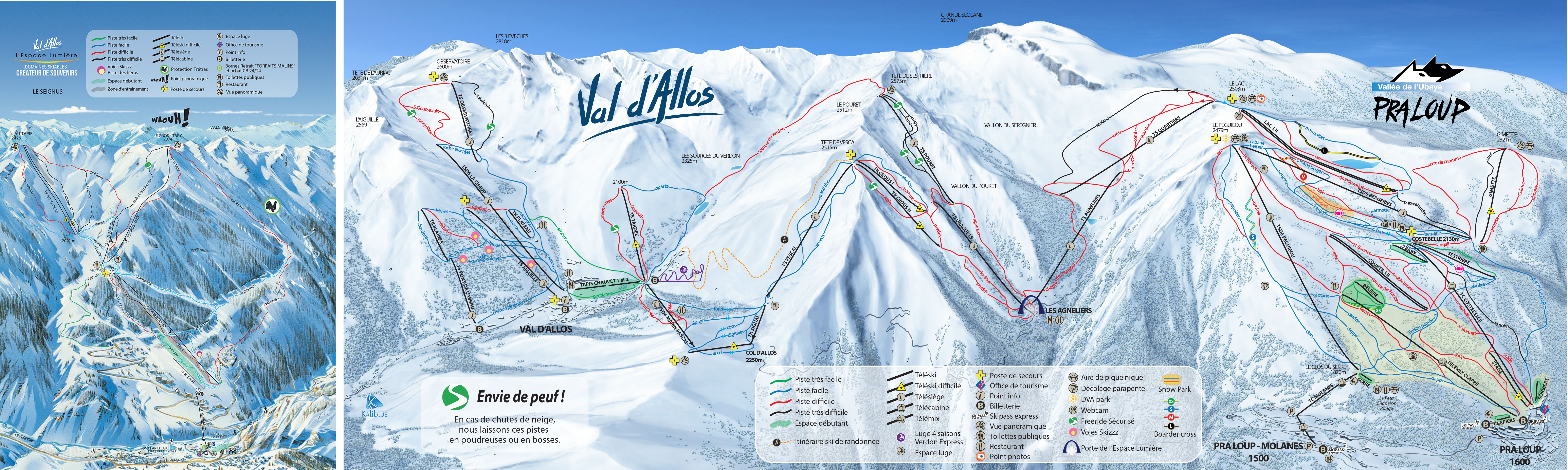 Val d'Allos 1500 Le Seignus Piste / Trail Map
