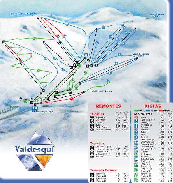 Valdesqui Piste / Trail Map
