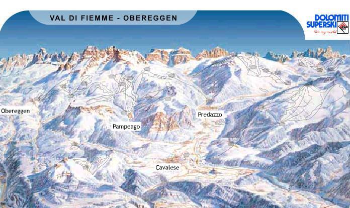 Val di Fiemme-Obereggen Piste / Trail Map