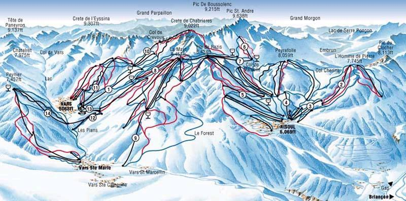 Vars Piste / Trail Map