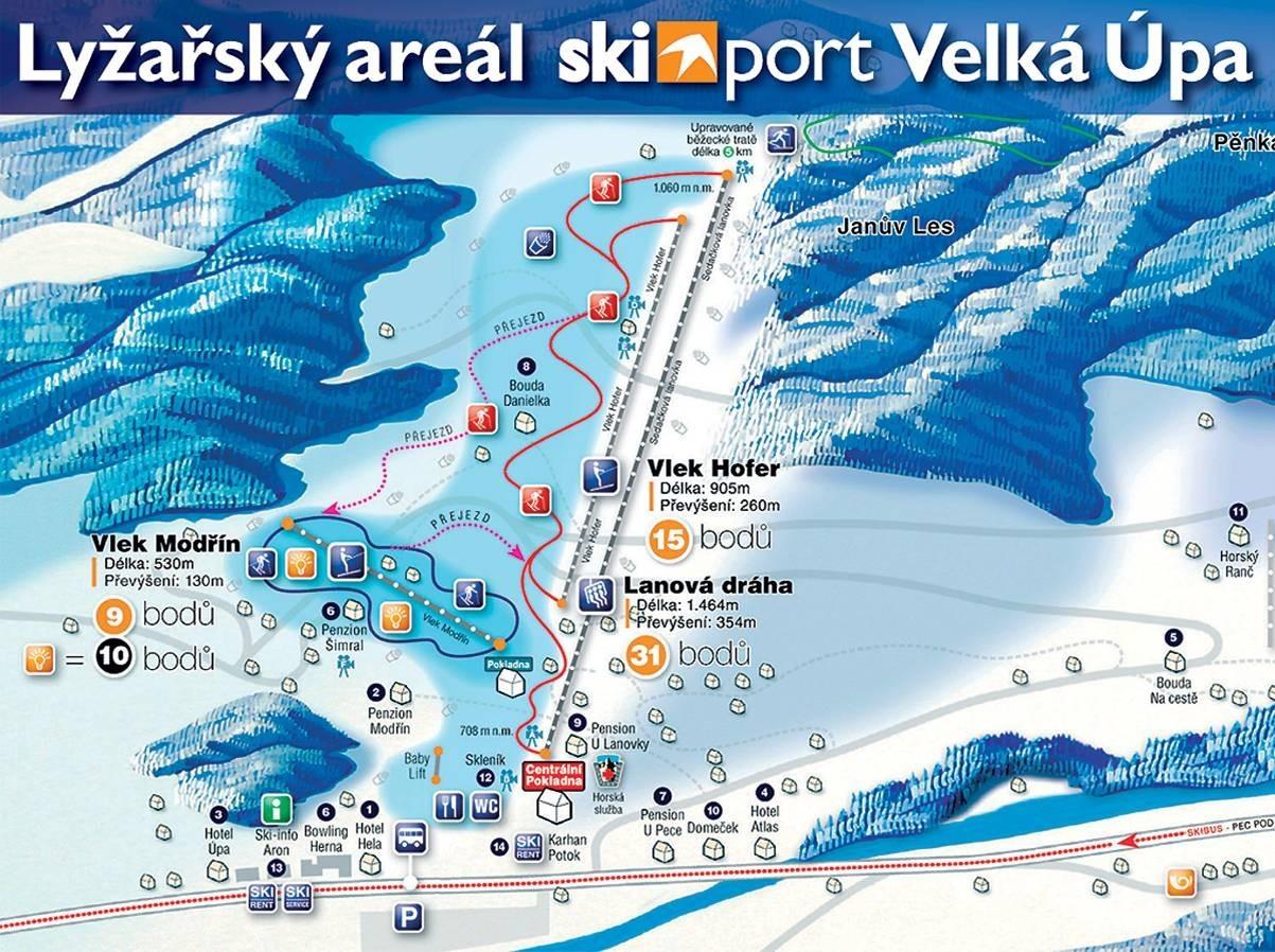 Velká Úpa Piste / Trail Map