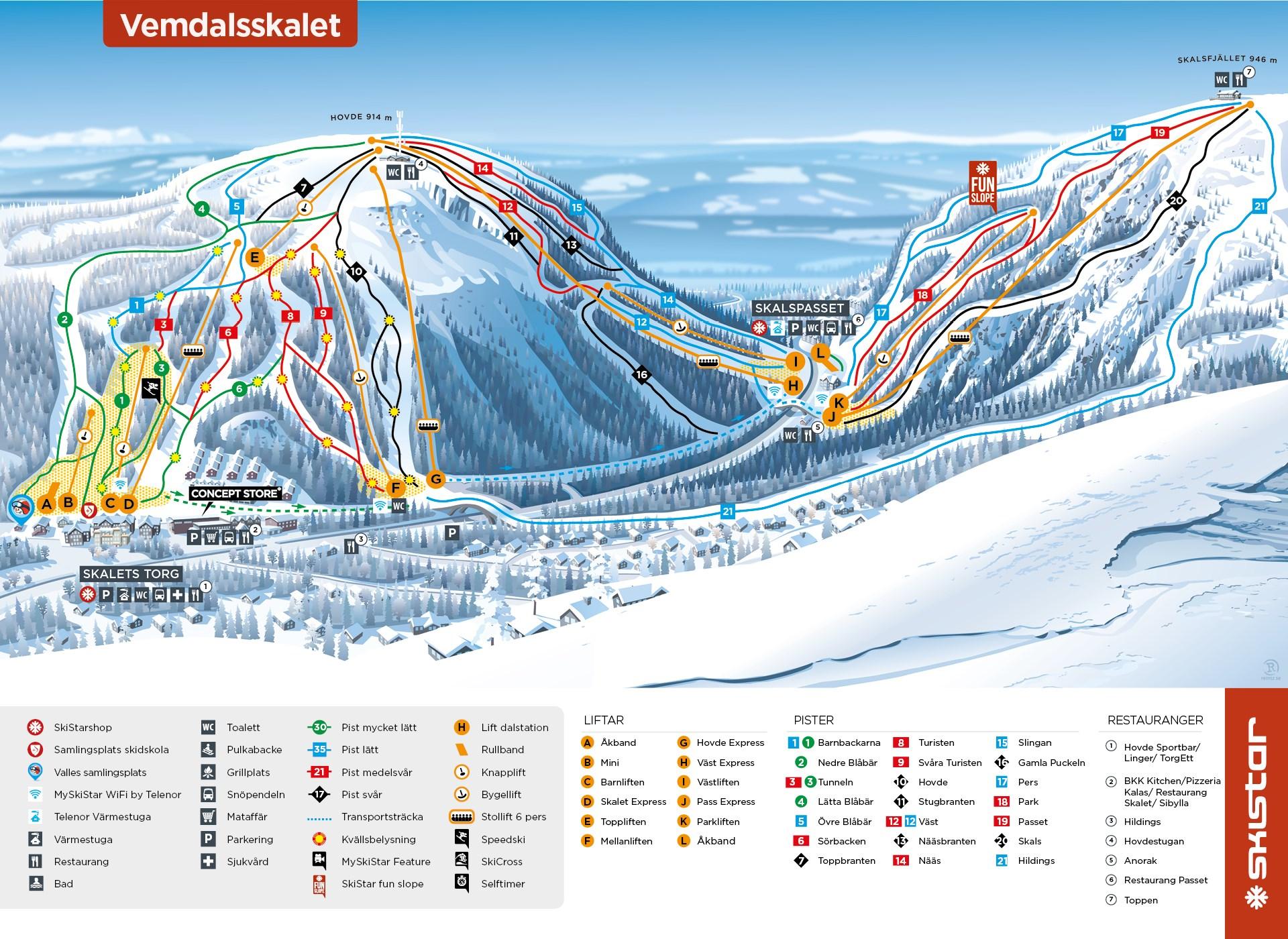 Vemdalen Piste / Trail Map