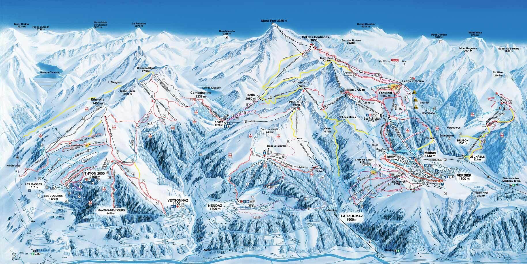 Verbier Piste Map Trail Map