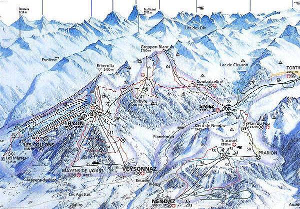 Veysonnaz-Printse Piste / Trail Map