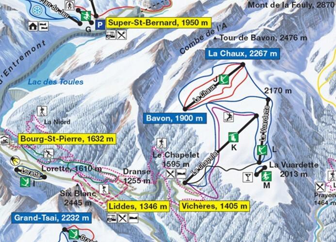 Vichères-Liddes Piste / Trail Map