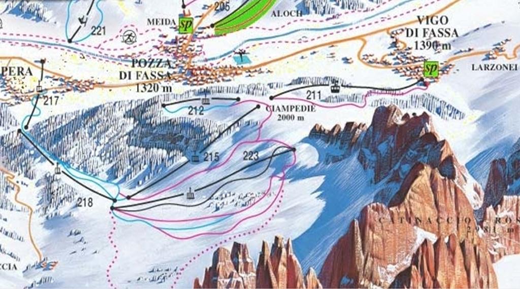 Vigo di Fassa Piste / Trail Map