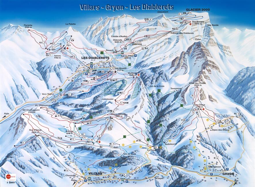 Villars Piste Map Trail Map