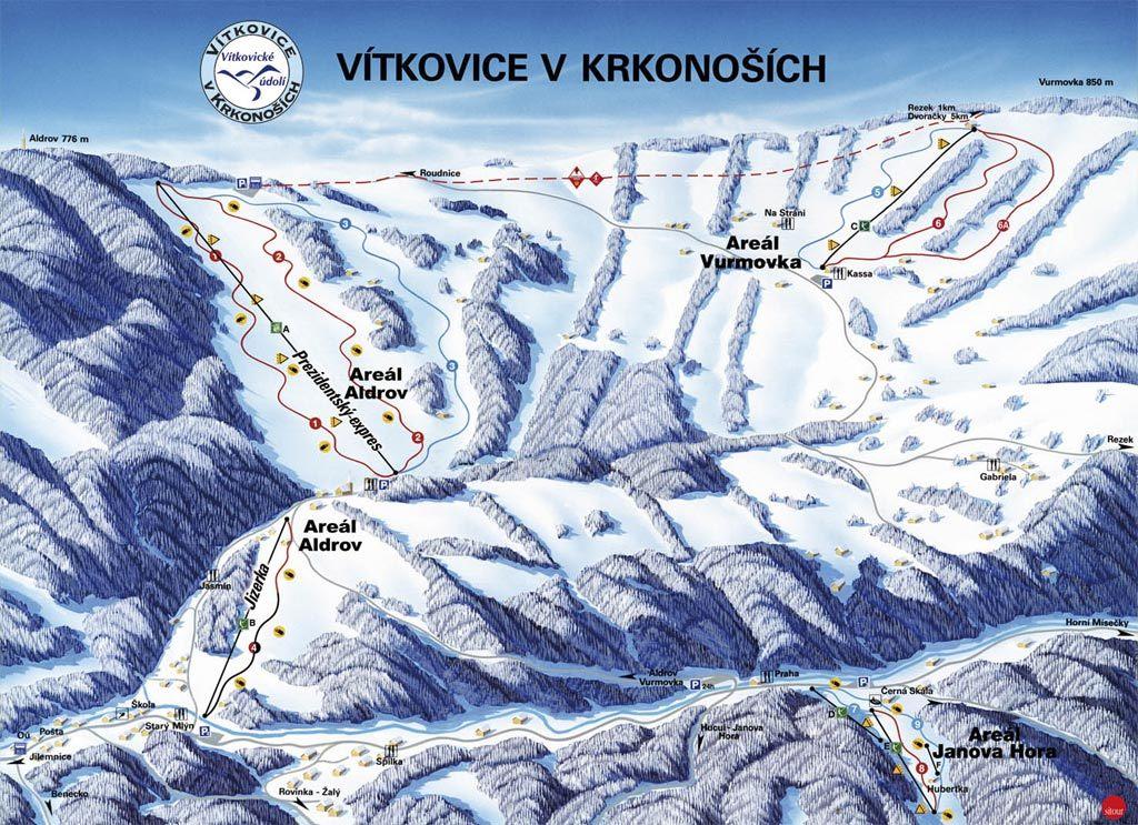 Vítkovice - Aldrov Piste / Trail Map