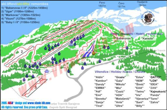 Vlašić Piste / Trail Map