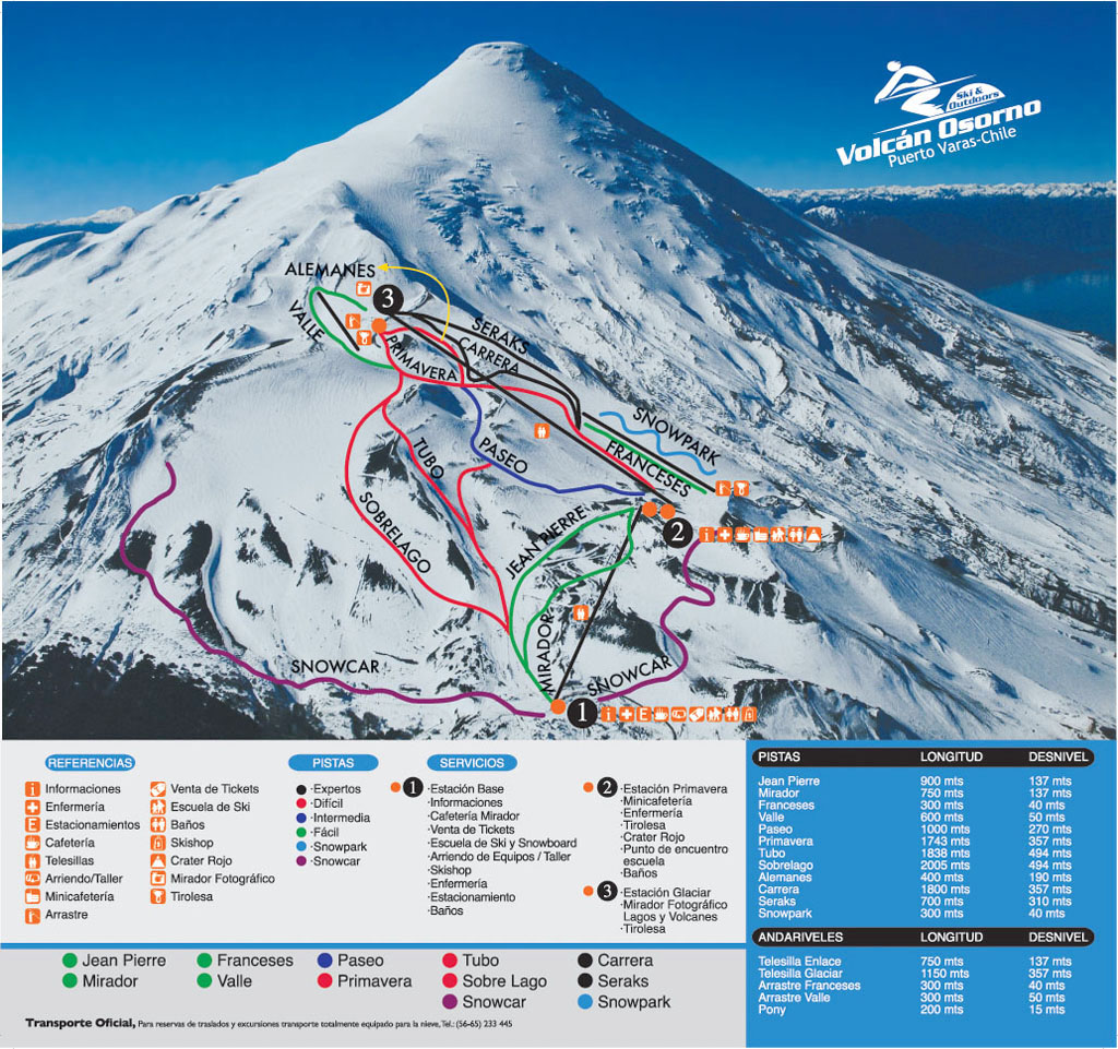 Volcán Osorno Piste / Trail Map