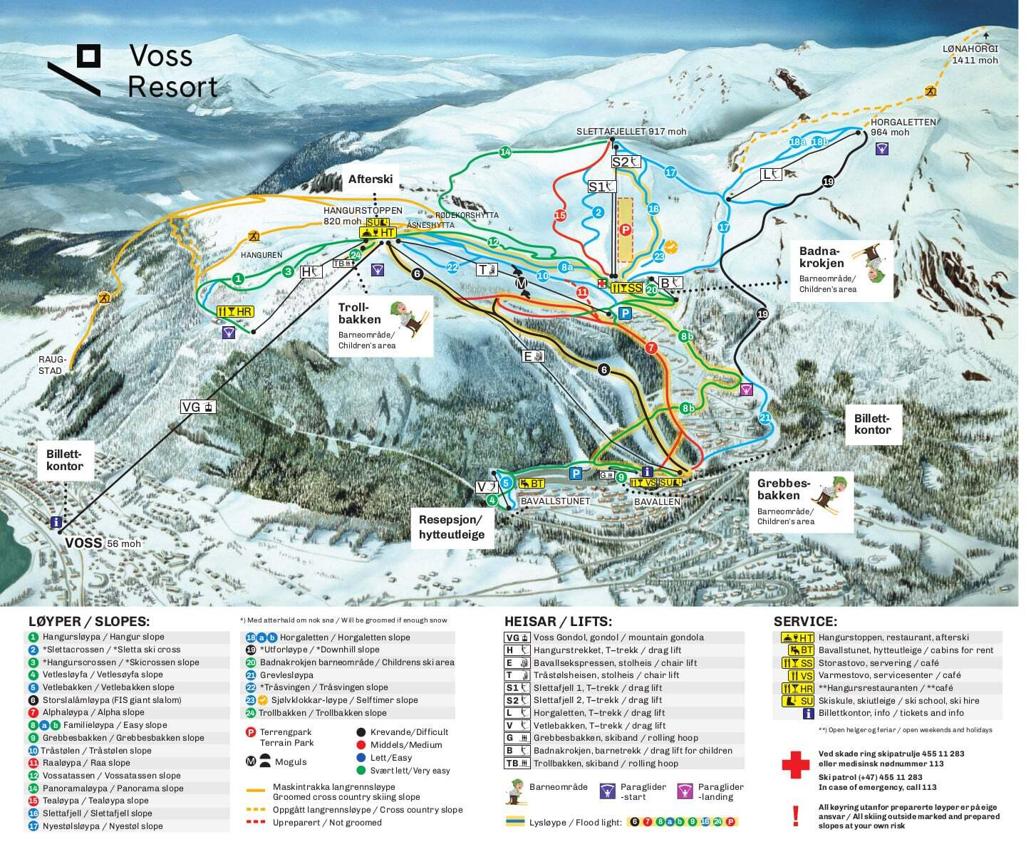 Voss Piste / Trail Map
