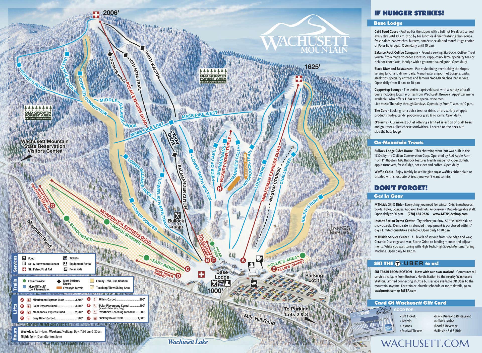 Wachusett Mountain Ski Area Piste / Trail Map