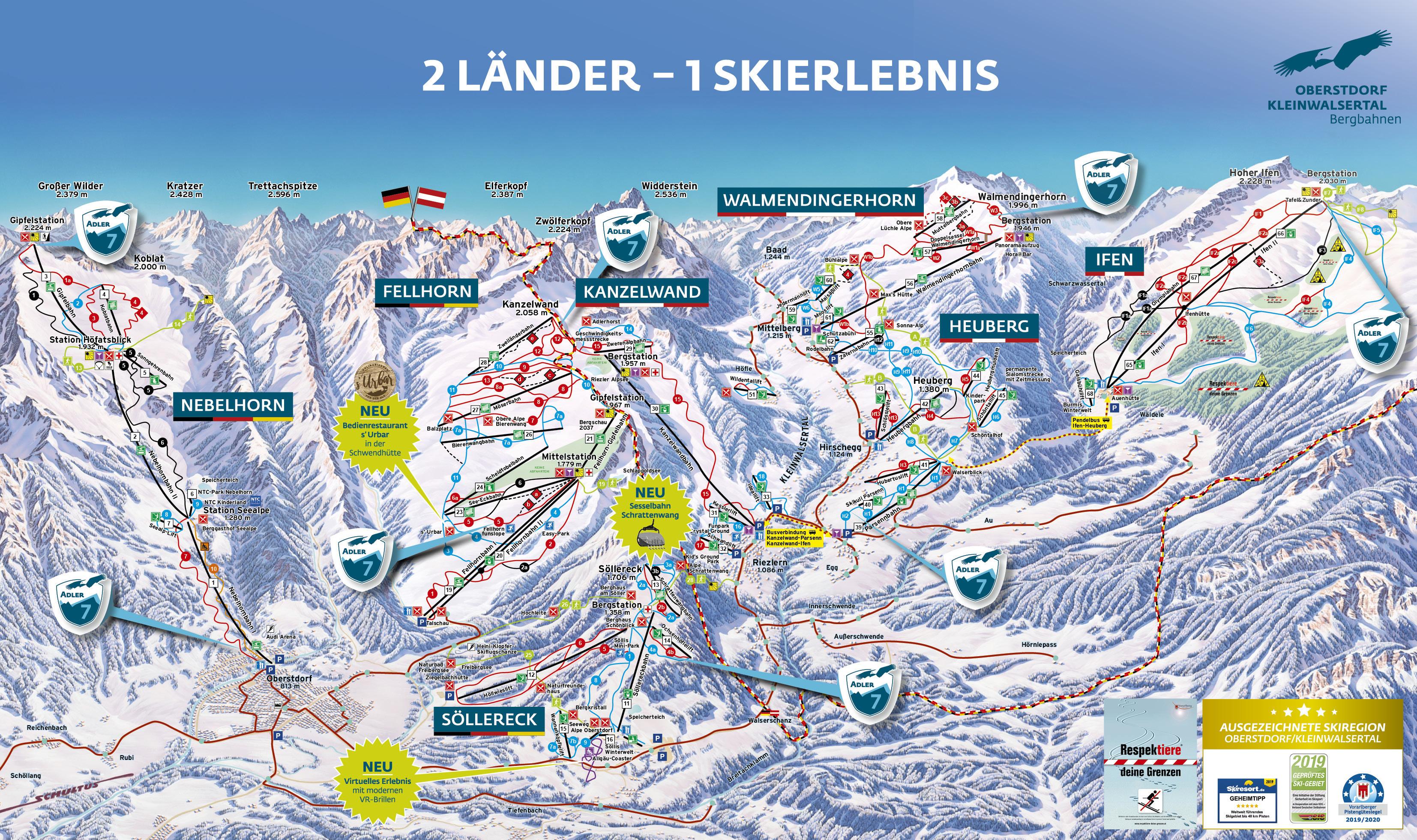 Walmendingerhorn (Kleinwalsertal) Piste / Trail Map
