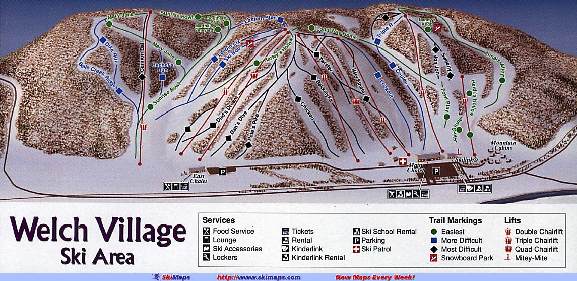 Welch Village Piste / Trail Map