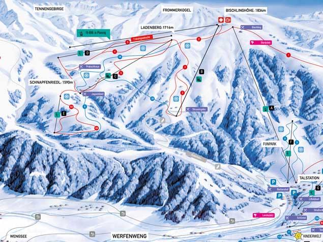 Werfenweng Piste / Trail Map
