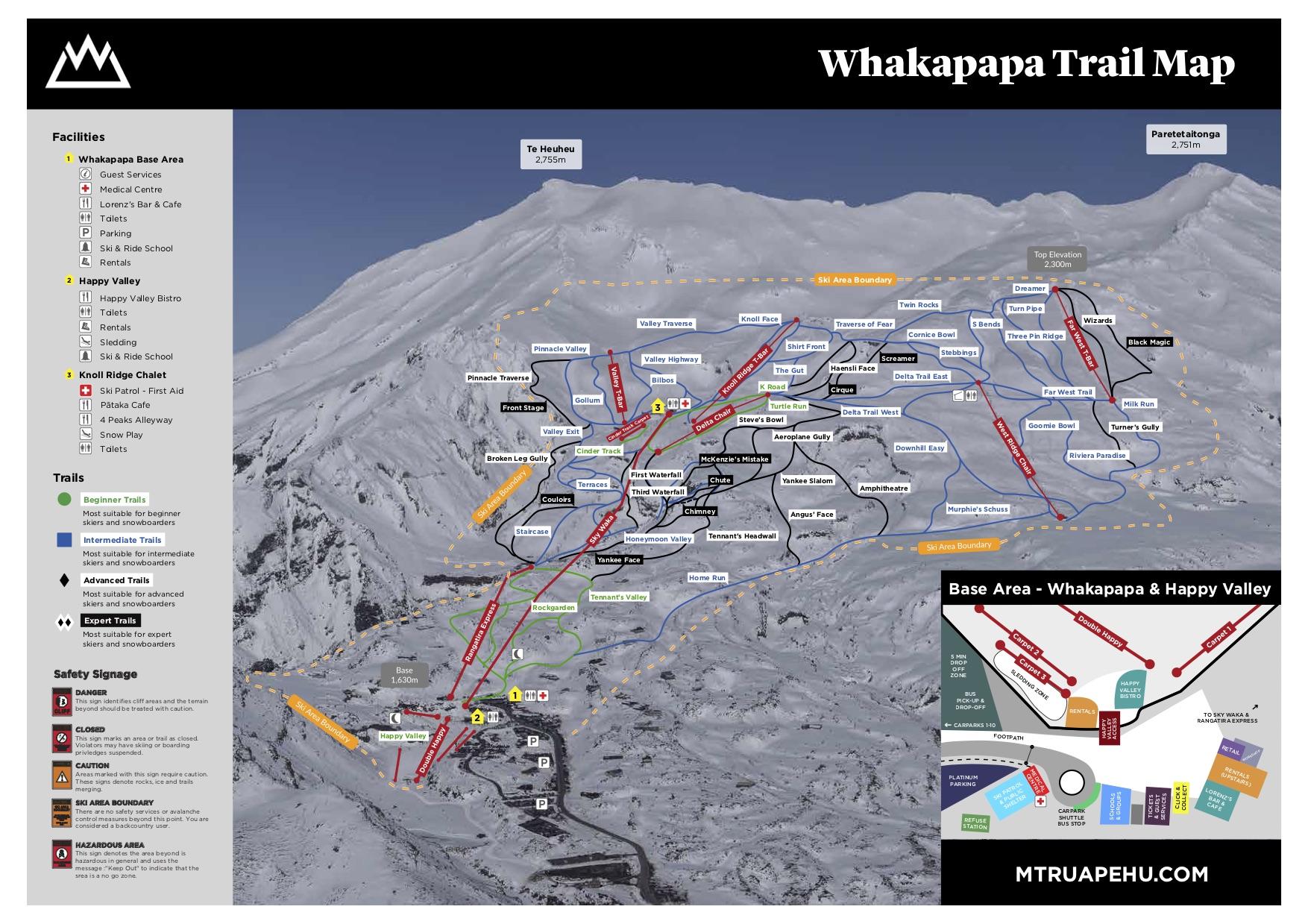 Whakapapa Piste / Trail Map
