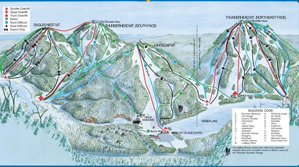 Whitecap Mountain Piste / Trail Map