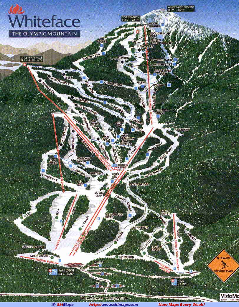 Whiteface Mountain (Lake Placid) Piste Map / Trail Map