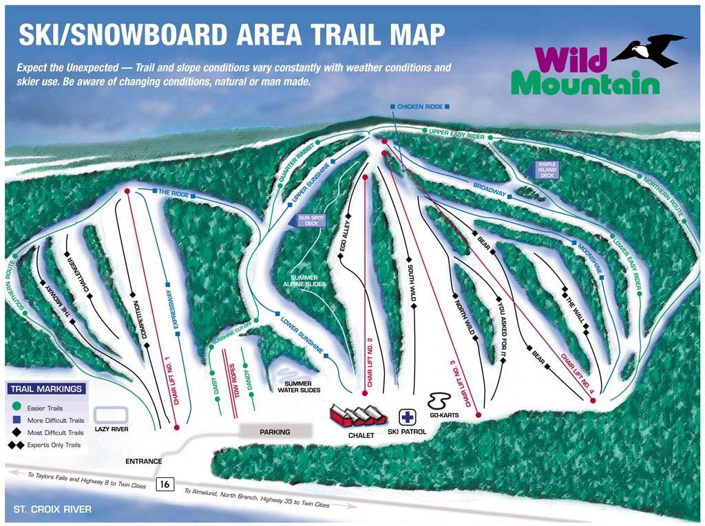 Wild Mountain Ski and Snowboard Area Piste / Trail Map