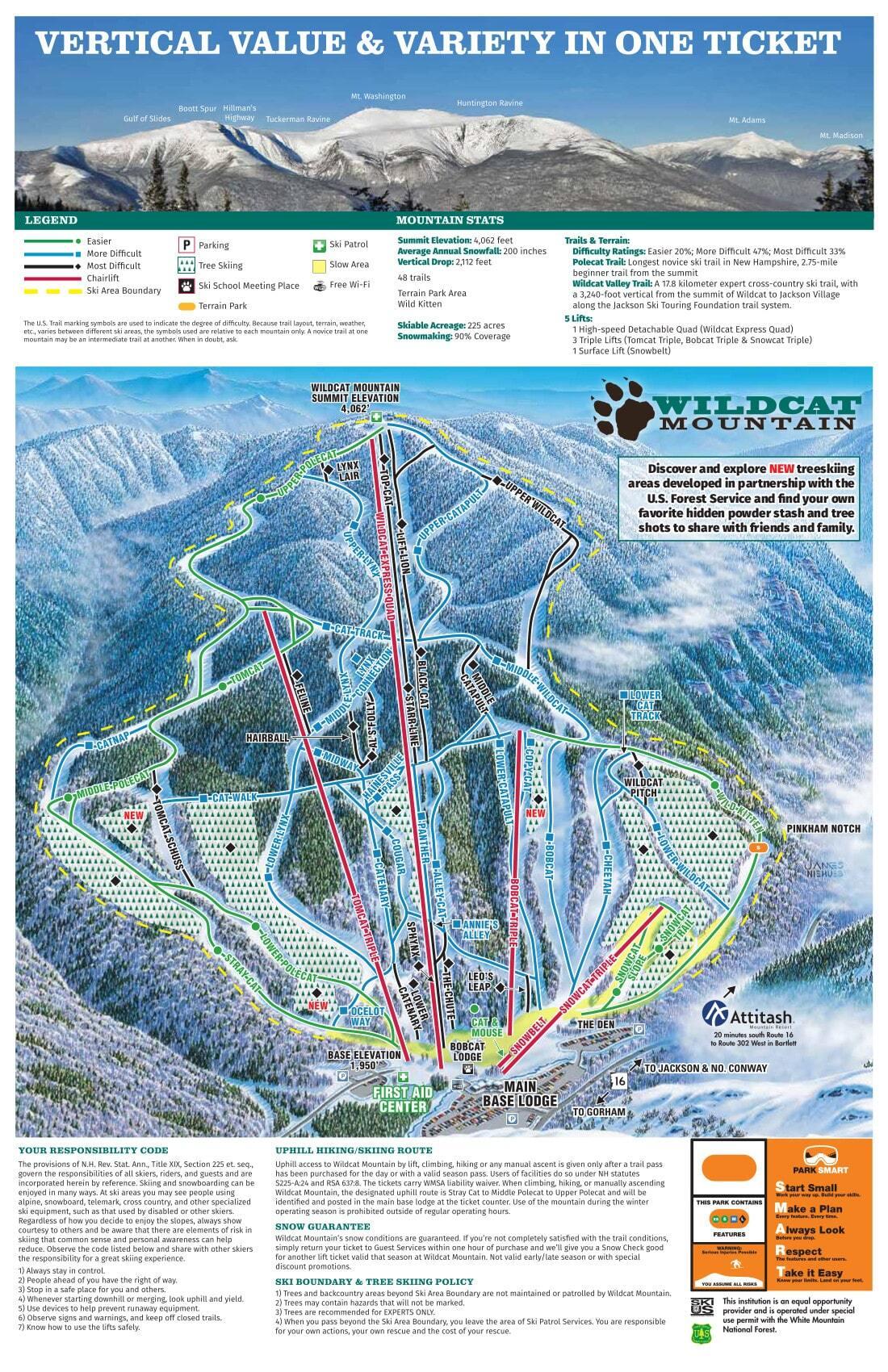 Wildcat Mountain Piste / Trail Map