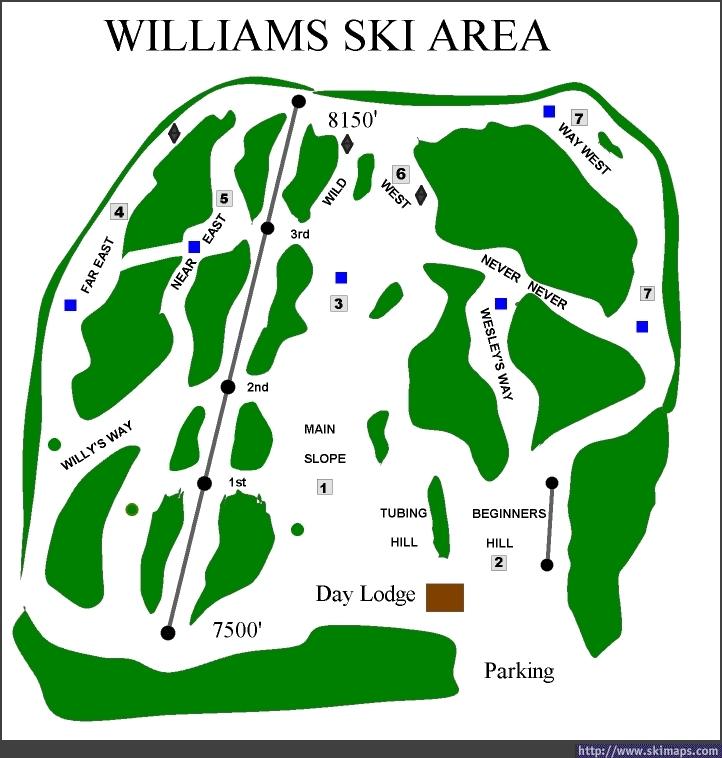 Williams Ski Area Piste / Trail Map
