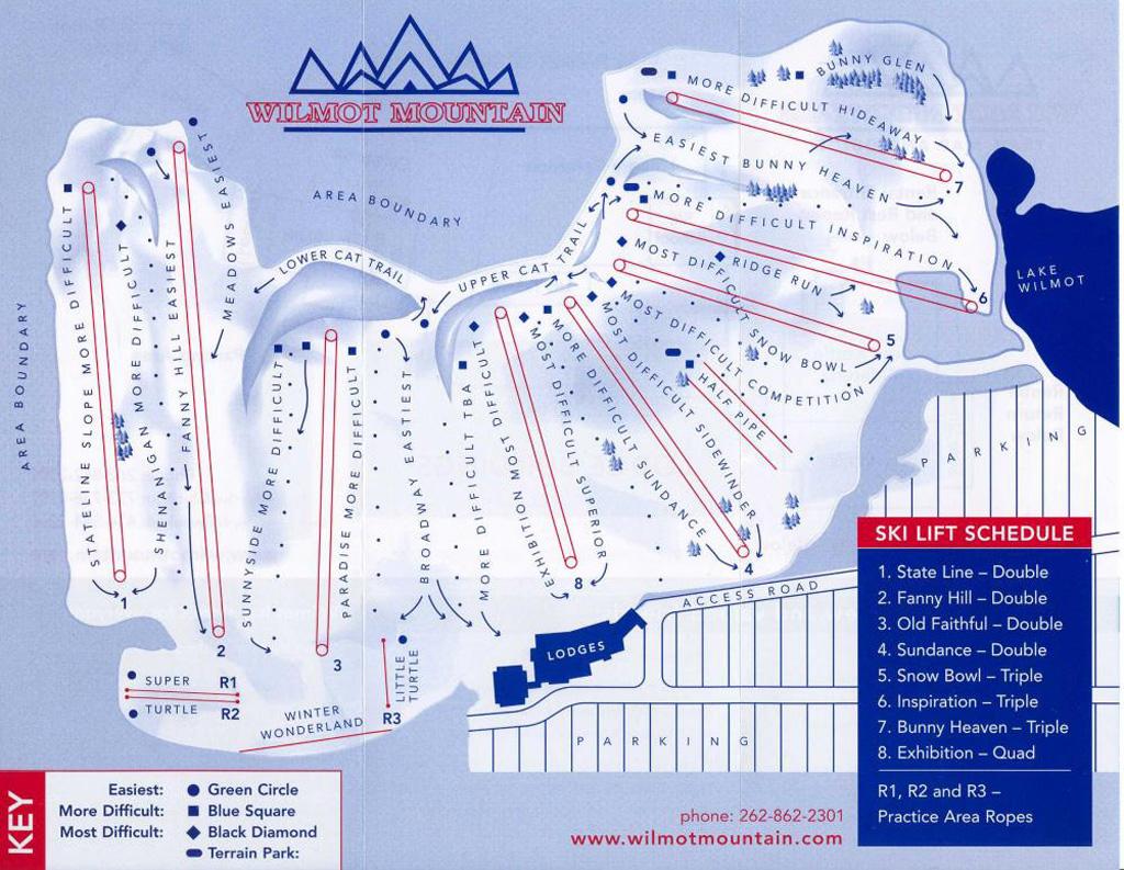 wilmot mountain piste map / trail map
