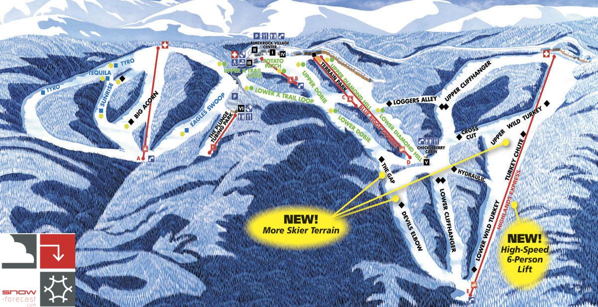 Ski Virginia Map.Wintergreen Resort Piste Map Trail Map