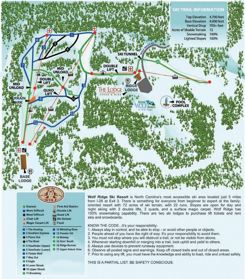 Wolf Ridge Ski Resort Piste / Trail Map